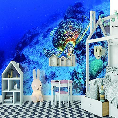 Schildkröte 5 Light (Design Fototapete Modernes Interieur 3D Unterwasser Schildkröte Wandbild Wohnzimmer Fernsehhintergrund)