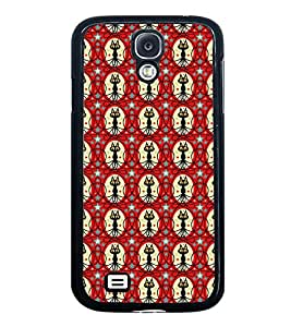 Fuson Premium 2D Back Case Cover Cute Cat in circle pattern With black Background Degined For Samsung Galaxy S4::Samsung Galaxy S4 i9500