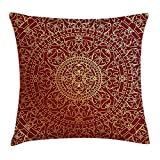 reebos Maroon Überwurf Kissen Kissenbezug, antik Arabisch Artwork Oriental Mandala inspiriert rund Ornament Marokkanische Ethnic, dekorative quadratisch Accent Kissen Fall, 45,7x 45,7cm, Gold Maroon