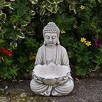 [Patrocinado]Buda de piedra maciza con cuenco, monje, decoración de jardín, de estancias, fundición de piedra resistente a las heladas