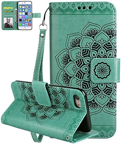 iPhone 7/8 Hülle, Roreikes Premium PU Leder Tasche für iPhone 7/8(4,7Zoll) Brieftasche Handyhülle im Bookstyle mit Kartenfächer Standfunktion Vintage Halbe Blume Muster Schutzhülle
