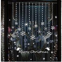 Tuopuda® Copos de Nieve y Pelota Decoración Navidad Pegatina Calcomanía de Ventana Vidrio Pared Puerta Vinilos Decorativos Autoadhesivo para Escaparate Tienda Hogar Moderno (copo de nieve)