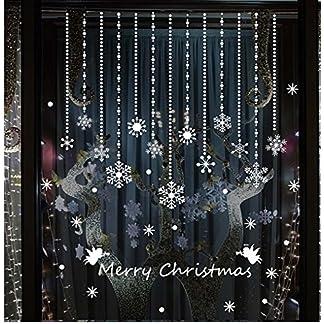 Tuopuda® Copos de Nieve y Pelota Decoración Navidad Pegatina Calcomanía de Ventana Vidrio Pared Puerta Vinilos Decorativos Autoadhesivo para Escaparate Tienda Hogar Moderno