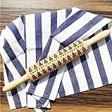 AJOYCN Christmas Print Rolling Pins Rolling in rilievo Natale biscotti di panpepato mattarello 38CM