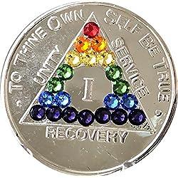 Rainbow Cristal de Swarovski AA Médaillon AN 1–56ou mois 1236918ou 24heures Girly Girl Plaqué nickel Puce