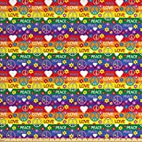 ABAKUHAUS Hippie Gewebe als Meterware, Herz-Friedens-Ikone