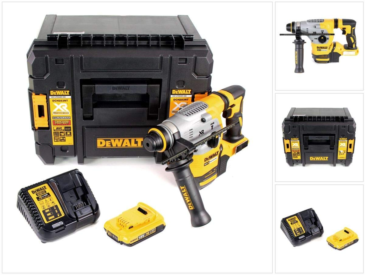 DeWalt DCH 283 D1 Akku Kombihammer 18V 2,8J SDS plus Brushless + 1x Akku 2,0Ah + Ladegerät + TSTAK