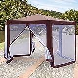 Outsunny Garten Pavillon Terrasse Party Sechser-Vordach Zelt Sun Shelter W/Moskito-Netz mit Reißverschluss, Braun