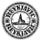 Reykjavic Iceland Grunge Rubber Travel Stamp Art Decor Vinyl Sticker Aufkleber 12 x 12 cm