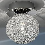 MIA Light Deckenleuchte aus Glas klar und Alu in Kugelform mit Drahtgeflecht in chrom