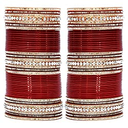 Lucky Jewellery Maroon Bridal Punjabi Choora, Wedding Chudas Set Size Of 2.8