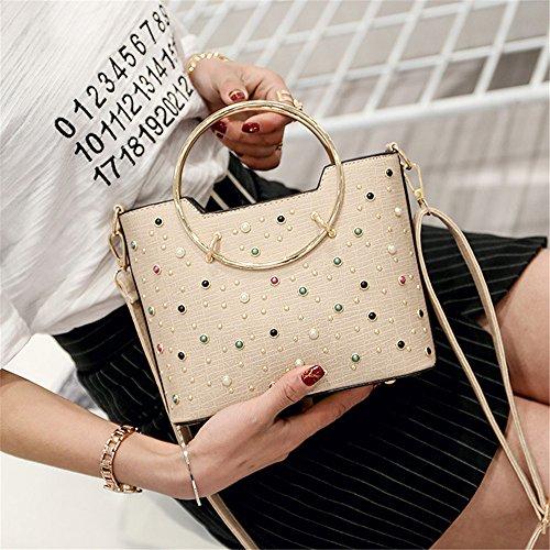 Meoaeo Single Schultertasche Handtasche Schulter Niet New Fashion Schwarz Beige