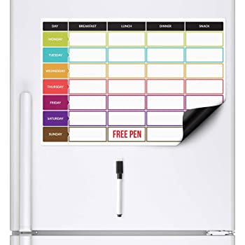 CKB LTD Meal Diet Planner Food Prep Nutrition Fitness Magnetic Fridge Board With Marker Pen A3 Dry Wipe Magnet Whiteboard Kitchen Weekly Daily Ideal for Planning Family Meals Bodybuilding Dieting