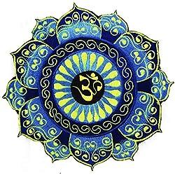 ImZauberwald AUM parche azul (20cm, UV negra activo, hecho a mano) Cosmic música Goa Trance bordado
