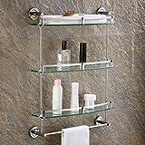 LI JING SHOP- Gehärtetes Glas Gestell Badezimmer Gestell mit Handtuchhalter und Schiene Wand montiert Edelstahl gebürstet fertig ( größe : 30*8*67CM )