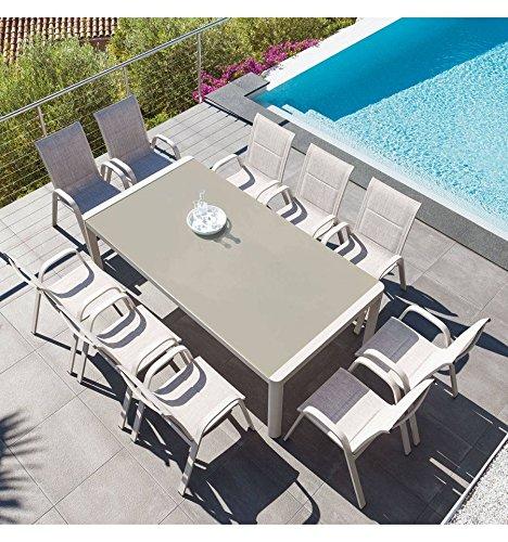 Table de jardin rectangulaire Absolu 10 places Taupe c085e061298c