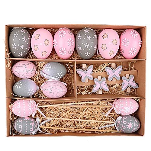 Victor's Workshop Uovo di Pasqua Pezzi 18 Pasqua Decorazoni in plastica da 5/6 cm per la Decorazione Primaverile - Pink/Grigio
