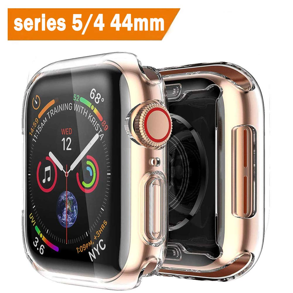 [2 pack] Funda Apple Watch 44mm Series 4/Series 5, Protector Pantalla iWatch 4 case Protección Completo Anti-Rasguños Ultra Transparente Funda Suave TPU, para Nueva Apple Watch Series 4/Series 5 44mm