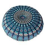 HLHN Indische Mandala Kissenbezüge, Runde Bohemian Home Sofa / Café / Bibliothek / Buchladen / Partei / Verein Kissen Cover, Größe: 80 x80cm (Blau)