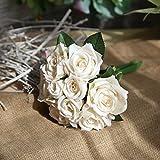 Jun7L Fleurs artificielles artificielles en Soie, 9 têtes de Roses artificielles en Plastique, Bouquet de Mariage pour la Maison, Le Jardin, la fête, la décoration de Mariage, Champagne B, 27cm