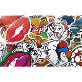 200pcs Aléatoire/Mixte Vinyle Stickers, Stillshine Etanche Autocollants pour Apple Macbook Laptop/Skateboard/Snowboard/Vélos/Meubles/Chariot, Vintage, Pop Art, Graffiti Super Cool (200)