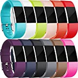 Maledan Ersatzarmband für Fitbit Charge 2, Größe S und L Größe L 12-pack