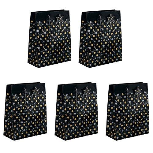 (Sigel GT029 Papier-Geschenktüten 23 x 17 cm, 5er Set, schwarz/gold/silber, Weihnachten - weitere Größen)