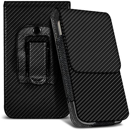 Fone-Case (Carbon) Kodak Ektra Hülle der nagelneuen Luxus Faux PU Vertikal Seiten Leder Pull Tab-Beutel-Haut-Kasten-Abdeckung
