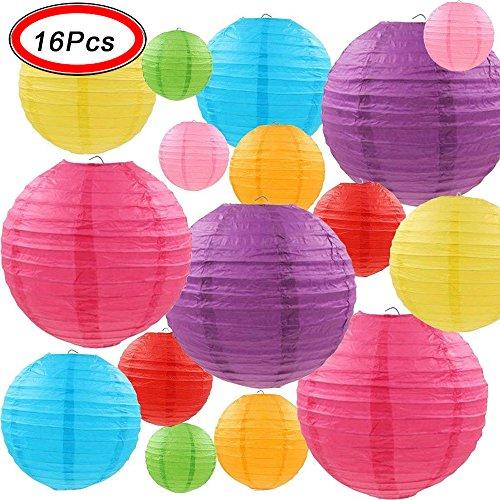 MYSWEETY Papierlaterne, 16 Stück Papier Lampions Schöne Hochzeit Deko Papierlampe rund Papier Laterne Lampenschirm Garten Party Dekoration Ballform - Verschiedene Farben