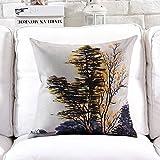 POPRY Nueva tinta china clásica ilustración del paisaje almohada sofá acolchado algodón almohada decorada confitería,45X45CM-C