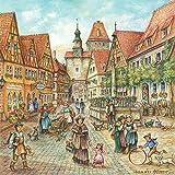 Unbekannt Deutsche Stadt Szene 15,2x 15,2cm Keramik Fliesen