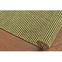 "50 x 450 cm Alfombra de pasillo de algodón a rayas, multicolor. Alfombra reversible de tejido plano fabricada en material orgánico puro 100% y tintes naturales. Tapete.1'8"" x 15' Yellow/Navy Blue Striped Extra Long Runner Rug, Style: 0001"