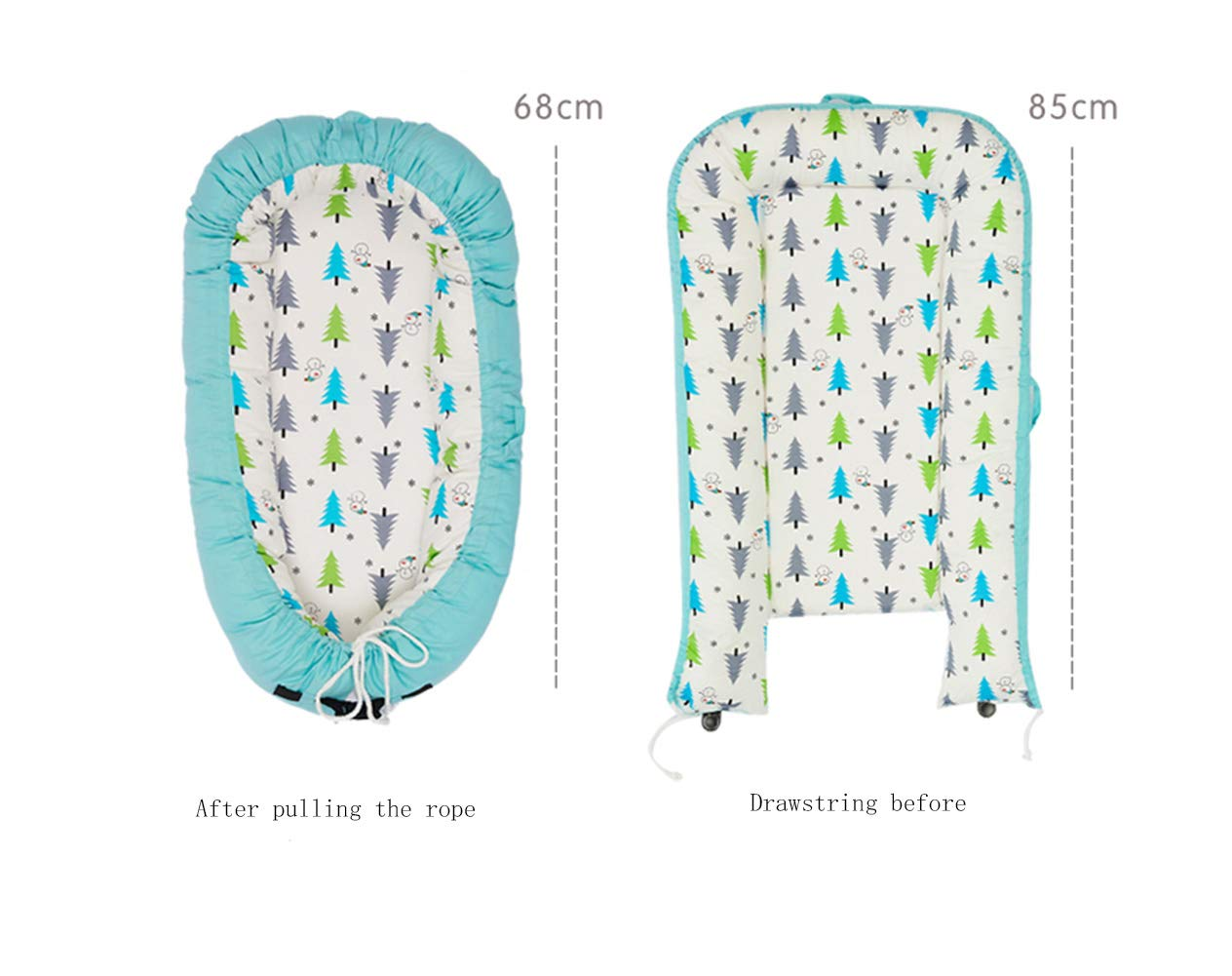LNDD-2 in 1 Baby Nest Cushion Cocoon Baby Lounger Bionic Uterine Cradle Mattresses Travel Bumpers,Blue LNDD ★CARE FOR THE BABY'S SPINE: The sponge mattress fits the baby's back, moderately soft and hard, and the sleep is evenly applied for a long time. ★RETRACTABLE DESIGN: buckle drawstring design Telescopic adjustment Different ages Different comfort spaces. ★MULTI-FUNCTION: windproof and anti-mosquito shading, easy to use, handle design foldable, easy to carry out and easy to take 2