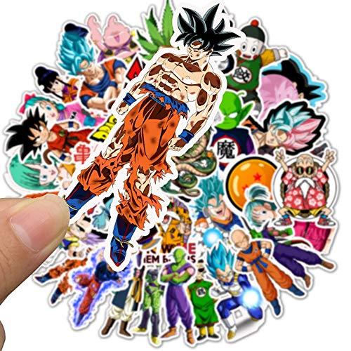 Inveroo 50 Stücke/Pack Cartoon Aufkleber Dragon Ball Super Anime Für Laptop Gepäcktaschen Fahrrad Telefon Styling Süße Spielzeug Doodle PVC Kreativ (Dragon Ball-aufkleber-buch)