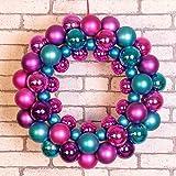 Weihnachtskranz, für Fenster, zum Aufhängen, Dekoration, DE-Layout, mit Malls oder Weihnachten, violett