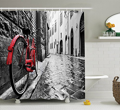 JIMMY MONTGOMERY Bicycle Decor Shower Curtain Set, Classic Bike on Cobblestone Street in Italian Town Leisure Charm Artistic Photo, Fabric Bathroom Decor with Hooks, 70 inches, Red Black and White