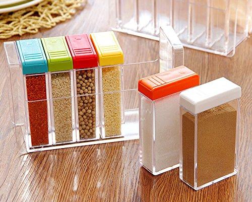 Hangqi (R) 6 pcs/lot de flacons Sel Poivre condiment assaisonnement Boîte à épices Boîte de rangement de cuisine Outil