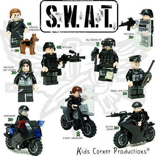 Kids Corner Productions® - SWAT TEAM 9 Minifiguren Set - Polizeitrupp mit K-9 | Waffen, Zubehör und Motorrad-Spielzeug-Baustein