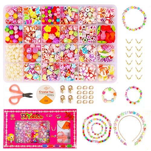 t, DIY Armband Perlen Set mit Buchstaben, Perlen für Armbänder Kinder Schmuck Buchstaben, Kinder DIY Armband Perlenschmuck, Geburtstagsgeschenk für Mädchen ()