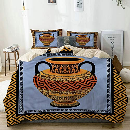 JOSENI Bettwäsche-Set, Mikrofaser,Traditionelle Amphore,1 Bettbezug 220 x 240cm + 2 Kopfkissenbezug 80x80cm