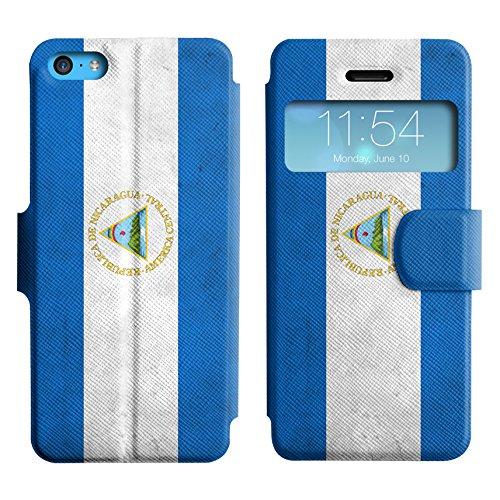 Graphic4You Vintage Uralt Flagge Von Mexiko Mexikanisch Design Leder Schützende Display-Klappe Brieftasche Hülle Case Tasche Schutzhülle für Apple iPhone 5C Nicaraguaner