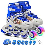 #9: LUKZER Adjustable Inline Roller Skates with Protection Kit which includes Helmet, Elbow, Wrist & Knee Guard for better protection against Injuries with Light Up Wheels, Size 34-38, Random Color