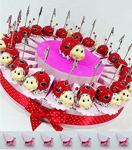 Sindy Gastgeschenke Bomboniere Marienkäfer Clip Bilderrahmen auf Kuchen Konfekt Confetti Rosenduft Kuchen 20Scheiben + 20Marienkäfer Memoclip + Marienkäfer cenrale + Confetti Pink Schokolade APR
