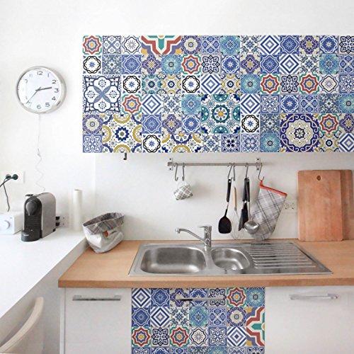 Möbelfolie - Fliesenspiegel - Aufwändige Portugiesische Fliesen, selbstklebend, Dekorfolie, Möbelaufkleber, DIY Designfolie, Sticker, Meterware, Größe HxB: 50cm x 100cm