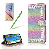 Girlyard for Samsung Galaxy J5 2017/J530 Wallet Cover,Bling Glitter Rhinestone Diamond [Pearl Rainbow Flower] Design Bookstyle Folio Flip Magnetic Closure Soft PU Leather Cover with Free Screen Protector-Gradient Green