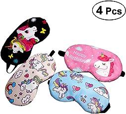 Lurrose 4pcs Unicorn Sleep Mask Cover Lightweight Soft Travel Eye Mask for Adults Kids