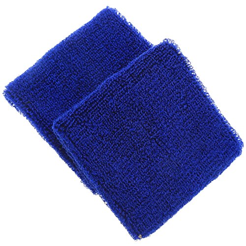 dophee-2pcs-unisex-sports-cotton-wrist-sweat-band-sweatband-tennis-badminton-wristband-drak-blue