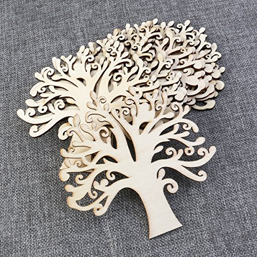 ULTNICE 10pcs Family Tree Wood Cutout Blank Wooden Embellishments for DIY Crafts (Wood Color)