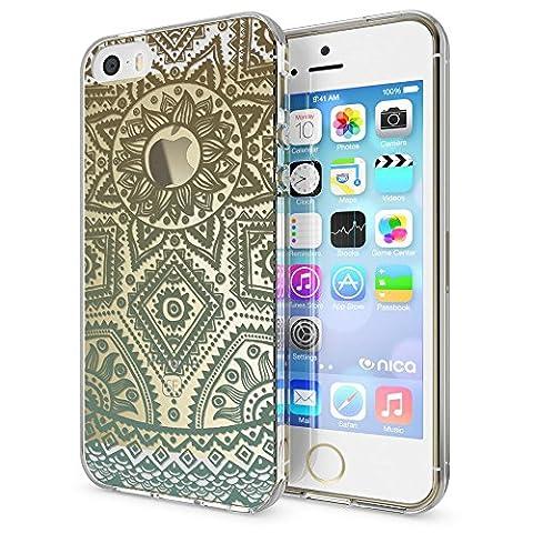 iPhone SE 5 5S Coque Protection de NICA, Housse Motif Silicone Portable Premium Case Cover Transparente, Ultra-Fine Souple Gel Bumper Etui pour Apple iPhone 5 5S SE, Designs:Mandala Turquoise Vert