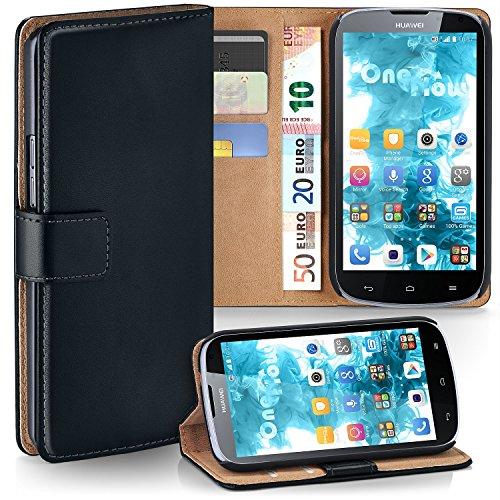 moex Huawei G610 | Hülle Schwarz mit Karten-Fach 360° Book Klapp-Hülle Handytasche Kunst-Leder Handyhülle für Huawei Ascend G610 Case Flip Cover Schutzhülle Tasche